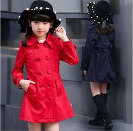 Wholesale Trench Coats For Girls Kids - 2016 elegant polyester autumn children coats trench kids clothing long sleeve outwear for girls double-breasted red navy two colors