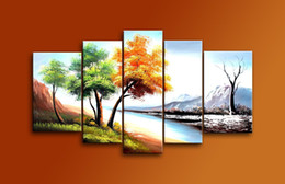 Wholesale Seasons Painting - Seasons Tree Painting 100% Handmade Landscape Oil Painting 5 Panel Framed Canvas Art Home Decoration Ready to Hang