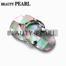 Wholesale Unique Flip Flops - Silver Plated Flip Flops Slipper Black Shell Pendant with Bead Necklace Chain Men and Women Unique Jewelry