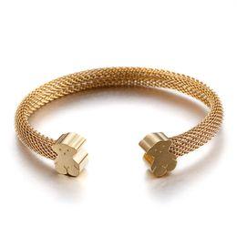 Wholesale Female Bears - Bracelet female open personality new bracelet female models vacuum plating titanium steel net bear bracelet