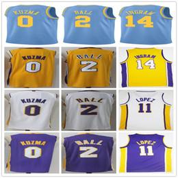 Wholesale Brook S - 2017-18 New #0 Kyle Kuzma Jersey Yellow Purple White 2 Lonzo Ball 11 Brook Lopez 14 Brandon Ingram Blue Hardwood Classic Basketball Jerseys