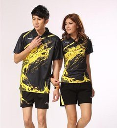 Wholesale clothes game - free shipping dragon Li-Ning badminton clothing couple models sportswear stunning game jersey short sleeve Tennis table quick-drying Shirts