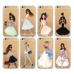 Wholesale Lovely Iphone Wallet Cases - Lovely Girls Phone Case for iphone 6 6s 5 5S SE 7 7 Plus Cover with retail bag package DHL free shipping Shopping Taking Pictures Dancing