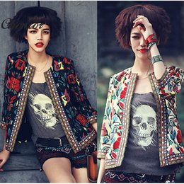 Wholesale Vintage Bomber Jacket Women - Women Vintage Jacket Autumn Ladies Fashion Floral Print Slim Zipper Short Basic Coats Bomber Jacket Embroidery