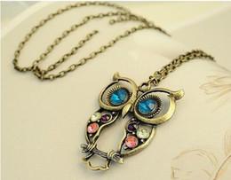 Wholesale Bronze Owl Bead Necklace - owl necklaces retro necklaces diamante necklaces bronze& antique silver necklaces bead necklaces long necklacces for women