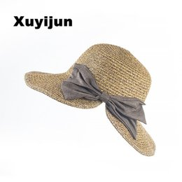 Wholesale Straw Hats Baseball Caps - Wholesale- Female Shi Mini design big hand-woven baby girl sun hat, baseball cap hat girls summer sun hat straw