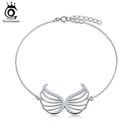Wholesale Ring Shaped Bracelet - Platinum Plated Bracelet with 30 Pieces AAA Zircon Wing Shape Charm Bracelet for Woman Wholesale OB33