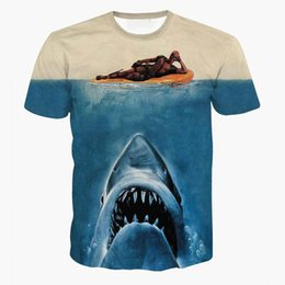 Wholesale Drop Shipping Shirts - Drop Ship Newest Jaws Deadpool t shirts Women Men Summer Hipster 3D t shirt tee American Comic Badass Deadpool T-Shirt Tees Tops