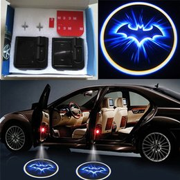 Wholesale Car Door Laser Lights - 1Pair Wireless LED Car Door Light Batman Welcome Lamp Laser ghost Shadow Light led Projector Wireless Car Welcome Door Light for BATMAN