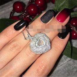 Wholesale Diamond Real - Fashion real 925 Sterling Silver jewelry High quality crystal CZ Diamonds PENDANT necklace women jewelry heart classic PENDANT