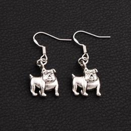 Wholesale Dangle Charm Alphabet - English Bulldog Charm Pendant Earrings 925 Silver Fish Ear Hook 13.5x34.5mm Tibetan Silver Jewelry E108