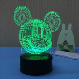 Wholesale Hot Atmosphere - Hot Cartoon Mickey Mouse 3D creative Touch Led Night Light Colorful Hologram Atmosphere Lamps For Children Christmas USB charging acrylic
