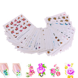 Wholesale Nail Tip Wrap - 50 Sheets Mixed Flower DIY Design Nail Sticker Water Transfer Wraps Nail Art Stickers Manicure Tips Decal Beauty Decorations