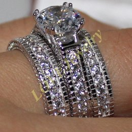 Wholesale Triple Wedding Ring Set - Size 6-10 Lady's S925 Silver Round Simulated Diamond CZ Stone 3-in-1 Carving Craft Wedding Triple Ring Set Jewelry for Women