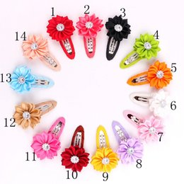 Wholesale Diy Lace Flowers - 60PCS 14 Colors Girl Flower Hairclip Rhinestone Mini Satin Flower Hair Clip Children Hairpins Diy Baby Girl Hair Accessories