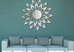 Wholesale Sunflower Stickers Free Shipping - Sunflower mirror Children room sitting room TV setting wall mirror wall decoration mirrors diy Mirror sticker free shipping hy1186