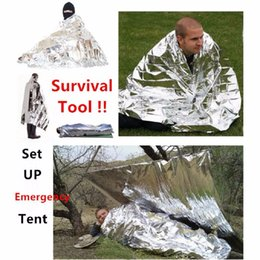Wholesale Car Blankets - Camping Portable Emergency Blanket First Aid Survival Rescue Curtain Tent Tools Outdoor Hiking 50g Kits Silver Golden