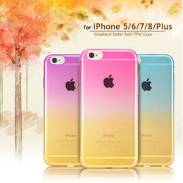 Wholesale iphone 5s transparent color cases - for iPhone Gradient Case Color Changing Transparent Soft TPU Scratch Resistant Shock Absorbing Cover for iPhone 5 5s 6 6s 7 8 Plus