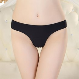 Wholesale spandex thongs - Wholesale-Newly Design Hot Women Invisible Underwear Thong Cotton Spandex Gas Seamless Crotch July10