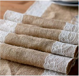 Wholesale Table Runner Material - Drop shipping!! 175cm Length Burlap Lace Table Runner Natural Jute Rustic Country Shabby Chic Wedding Decoration Hair bow material