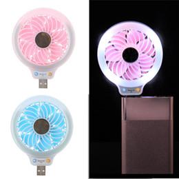 Wholesale Beauty Banking - 2017 New luminous mini micro USB fan beauty selfie fill-in light multi-function USB LED fan with LED night light for power bank laptop PC