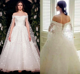 Wholesale White Organza Wedding Capes - Amazing Cape Style Handmade Flowers A Line Arabic Wedding Gowns Floor Length Long Train Wedding Dresses Robe De Mariee Princesse