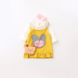 Wholesale Mouse Cartoon Baby - Everweekend Kids Baby Girls Sweet Sets White Color Lace Blouse Top Shirt and Cartoon Mouse Ruffles Suspender Dress 2 pcs Outfits