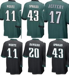 Wholesale Black Eagle Order - Youth Kids Jersey#43 Darren Sproles 17 Alshon Jeffery 20 Brian Dawkins Eagle#11 Wentz Jersey Green black Mix Order