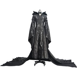 Abiti da donna in lattice online-Kukucos Adult Womens Dress Maleficent Evil Black Queen Latex Costume di Halloween Cosplay