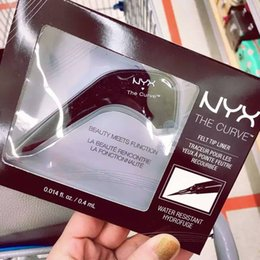 Wholesale Makeup Tips Color - 2016 New Hot Makeup NYX The Curve Felt Tip Liquid Eye Liner color Jet Black NEW IN BOX Waterproof Aloha Fast Shipping
