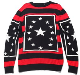 Wholesale Thick Winter Sweaters - Europe Paris Winter Fashion Striped Star O neck Pullover Sweater Men Women Luxury Thick Wool Sweater