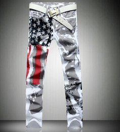 Wholesale flag flown - Printed Design Jeans Men American Flag Stars Straight Pants Slim Fit Stretch Trousers