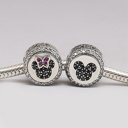 Wholesale Pandora Sparkle Beads - Authentic 925 Sterling Silver Beads Desney, Mickey & Minnie Sparkling Icons Charm Fits European Pandora Style Jewelry Bracelets