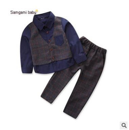 Wholesale Boys Blue Collar Shirt - Boys Spring Outfits 2018 Spring Autumn 2 Piece Outwear Children Gentleman Suit Long Sleeve Shirts Pants 2Pcs Kids Clothes for Boy