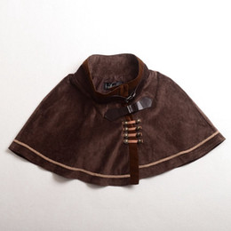 Wholesale Girls Quality Punk - Gothic Punk Lolita Cape Girls Blue Brown Vintage Capelet Embroidery Cosplay Suede Fabric Outwear High Quality