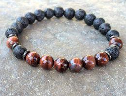 2019 pulsera de ojo de tigre rojo SN1083 Pulsera de ojo de tigre rojo lava para hombre natural Nuevo diseño Yoga Mala Beads Pulsera Meditación budista Chakra Jewelry pulsera de ojo de tigre rojo baratos