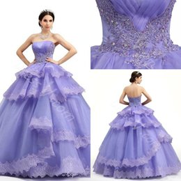 Wholesale Hot Pink Strapless Prom Dress - 2017 Hot Ball Gown Strapless Purple Sequined Quinceanera Dresses Organza Pleats Tiered Cascading Ruffles Appliques Sweet 16 Prom Dresses