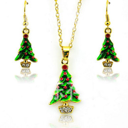 Wholesale New Arrival Gold Set - New Arrival Fashion Jewelry Sets Gold Plated Elegant Christmas Tree For Women Earrings Necklace Set Wholesale