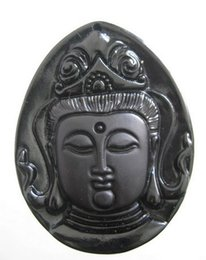 Wholesale Hand Sculptures - 2015 NEW best obsidian hand-carved guan yin head sculpture bring lessing and good luck fashion Jewelry obsidian Free shipping