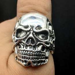 Wholesale Top Skull Rings - Wholesale Lots Top 36pcs Mixed Styles Vintage Skull Carved Biker Men's Silver Plated Rings jewelry All Big Size