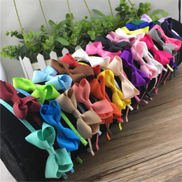 Wholesale Hair Band Making - 28Colors Hand Made Grosgrain Bow Hairband 2.5inch mini bow For Baby Kids Girl Ribbon Hair Bands Hair Accessories 28pcs lot
