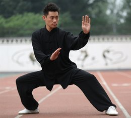 Wholesale jacket black wings - High Quality Chinese Tai Chi Kung Fu Wing Chun Martial Art Suit Coats Jacket Uniform Costume C027 Black White Blue Pink