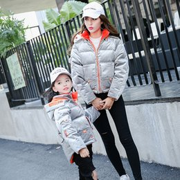 Wholesale Mom Son Outfits - Mother Daughter Winter Dresses Family Matching Down Coat Real Fur Duck Down Mom Son Outfits Mommy Mother and Daughter Clothes