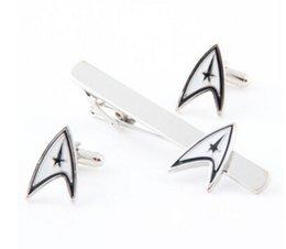 Wholesale Tie Piece Clip - Wholesale-Star Trek Delta Shield cufflink ,tie clip 2-Piece set Gift Set For Men's Accessories Collection For men jewelry