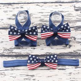 Wholesale Baby Accessories Feet - Fashion new American flag Handband+Foot flower kids star stripe Hair Band kids hair accessories baby Bow American Flag Accessories A7768