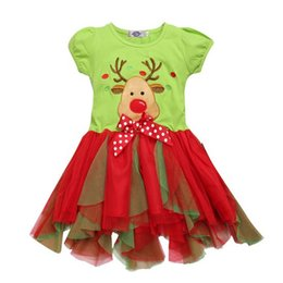 Wholesale Deer Dresses - 2016 Christmas girls dress New year Children clothes red nose Deer bow Rudolph colorful tutu skirt dress short sleeve wholesale fast ship