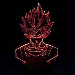 Wholesale Night Moon - Goku Dragon Ball 3D Illusion Lamp RGB Colorful Night Light USB Powered AA Battery Bin Dropshipping Gift Box Fast Shipping