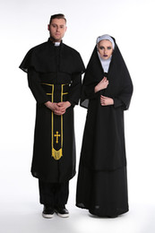 Wholesale Black Priest - Halloween male female nun role play Cosplay suit couples priest clothing women's costume