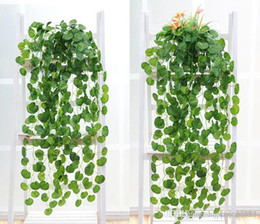 Wholesale Artificial Silk Flowers Suppliers - Artificial Silk Green Plants Hanging Scindapsus lvy Foliage Garland Flowers Plants Home and Garden Decorations Wedding Supplier High Quality