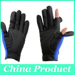 Wholesale Outdoor Water Falls - 2 Cut - Finger Fishing Gloves For Men Anti Water And Slip Folding Fingers Outdoor Sport Cycling Glove Fishing Gloves 1 Pair